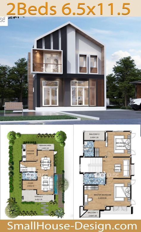 House Design Plans 6.5x11.5 Meters 2 Bedrooms - Small House Design