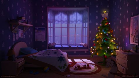 """Tutorial on how to light a christmas scene in Maya using Vray for Maya """"Waiting for Santa"""""""