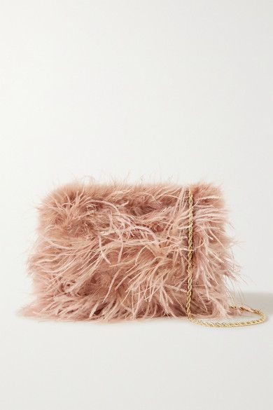 Feathered accessories are such a fun way to channel the '90s. Covered in wispy 'Buff Pink' ones, Loeffler Randall's 'Zelda' bag has a satin interior that's big enough to fit a phone, cardholder and lipstick. Wear the gold chain strap over your shoulder, or detach it to carry it as a clutch.