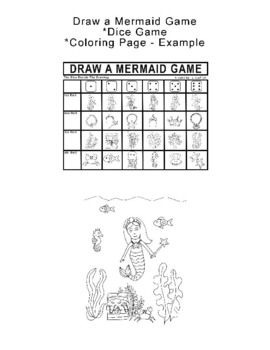 Draw A Mermaid Dice Game And Coloring Page Example Students Drawings Are Determined By The Roll Of The Dice Dice Games Drawing Games Map Games