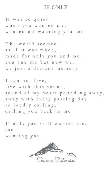 If Only Written By Susana Zatarain Poems Beautiful