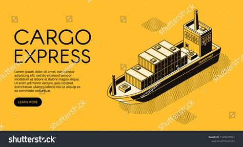 Ship delivery vector illustration of thin line art in black isometric halftone style. Maritime transport cargo logistics technology of boat shipping containers and parcel boxes on yellow background #Sponsored , #Aff, #black#art#isometric#style