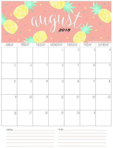 August 2018 Calendar Calendar 2019 Printable Free Printable
