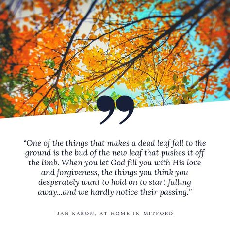 Forgiveness is so hard! Moving past hurtful actions and words is not easy, but with God's help, it is possible. At Home in Mitford Quote - Forgiveness. #athomeinmitford #faith #inspirationalquotes #bookclub #booksworthreading