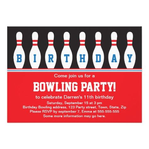 bowling birthday party invitation with pins sports birthday party