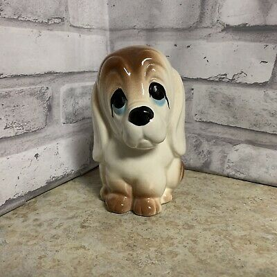 Ceramic Dog Figurine Basset Hound Kitch Jema Holland Dog Statue Collectable Vintage