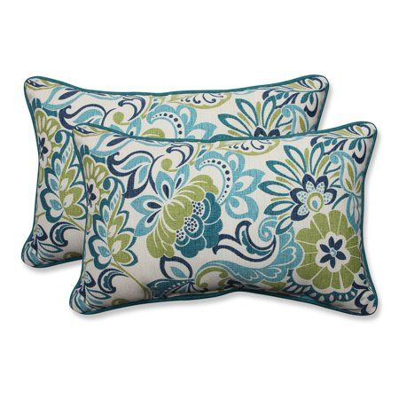 Set Of 2 Blue And Green Infinity Flower Outdoor Corded Throw Pillows 18 5 Walmart Com Outdoor Decorative Pillows Outdoor Pillows Indoor Throw Pillows