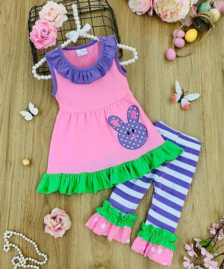 NEW Bambi Girls Boutique Ruffle Tunic Dress /& Leggings Outfit Set