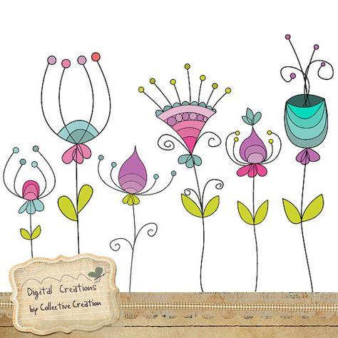 Doodle flores Digital Clipart Set - perfecto para Scrapbooking y artesanías de papel General