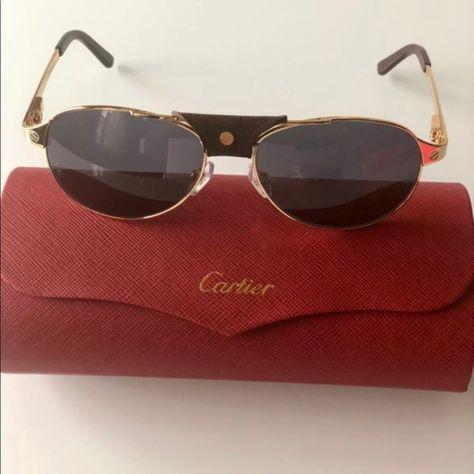 c6c72627dc Cartier Sunglasses Edition SANTOS-Dumont Cartier Edition SANTOS-Dumont  Sunglasses Aviator Unisex Gold Polarized