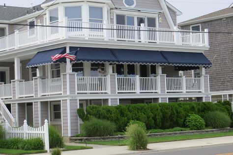 Navy Blue Sunbrella Fabric Porch Awnings Fabricated And Installed By Kreiders Canvas Of Lancaster County Pa Residential Awnings Porch Awning Aluminum Awnings