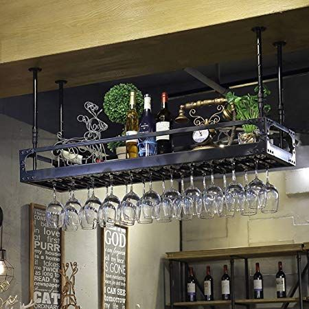 Image Result For Ceiling Hanging Wine Glass And Bottle Holder