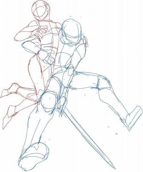 Lerne Menschen zu zeichnen - Der weibliche Körper-   Männlich, weiblich, Action, Schwert, Halten, Kämpfen, Cool; Zeichnungsreferenz   -  #der #Körper #Lerne #Menschen #weibliche #Zeichnen