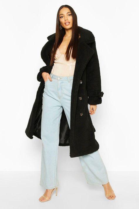 super quality sale usa online united kingdom Womens Teddy Faux Fur Trench Coat - black - S/M   Coat, Padded ...