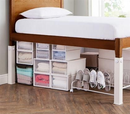 Suprima Ultimate Height Bed Risers – Carbon Steel – White - All About Decoration Dorm Room Storage, Dorm Room Organization, Organization Ideas, College Dorm Storage, Organizing Dorm Rooms, Under Bed Organization, College Dorm Essentials, Under Bed Storage, College Bedroom Decor