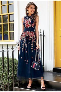 Zara Sukienka Kwiaty W Odziez Obuwie Dodatki Allegro Pl Embroidery Dress Maxi Dress Long Blue Dress