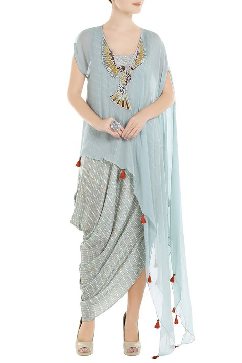 Shop Roshni Chopra - Blue chiffon bird embroidered cape Latest Collection Available at Aza Fashions