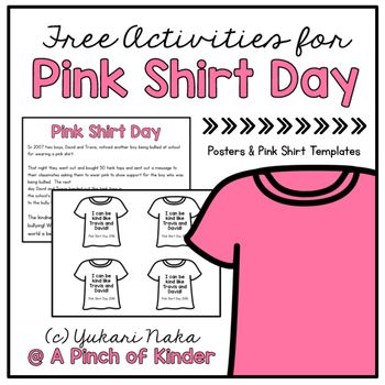 Does Your School Celebrate Pink Shirt Day Here Is A Free Resource To Help You Make Teaching About Pink Pink Shirt Bullying Activities Anti Bullying Activities