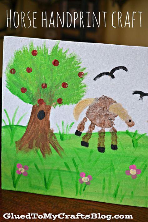 Horse Handprint Canvas {Kid Craft}
