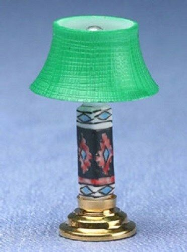 MH922 Dollhouse Miniature MODERN TABLE LAMP FLAMINGO GRN SHADE