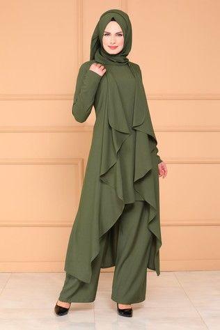 B G S Hirkali 3 Lu Kombin 4001bgs354 Haki Model Pakaian Hijab Model Pakaian Gaun