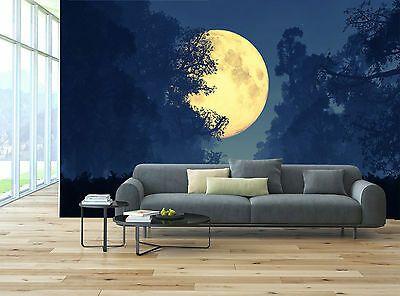 Golden Moon Dark Night Sky Forest Wall Mural Photo Wallpaper GIANT WALL DECOR