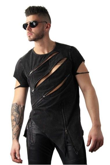UK Men/'s Slim Fit O Neck Long Sleeve Punk Gothic Zipper Ripped Tee T Shirts Tops