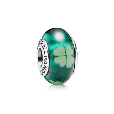 charm pandora vetro murano verde