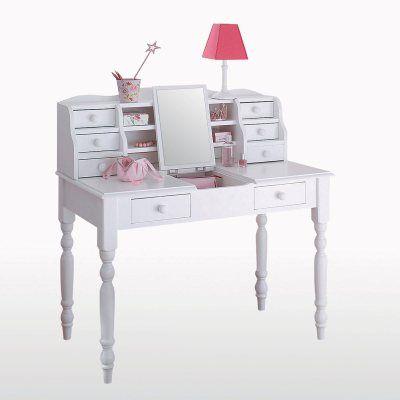 Bureau Coiffeuse Pin Massif Coloris Blanc Authentic Style Meuble Meuble Deco Mobilier Bureau