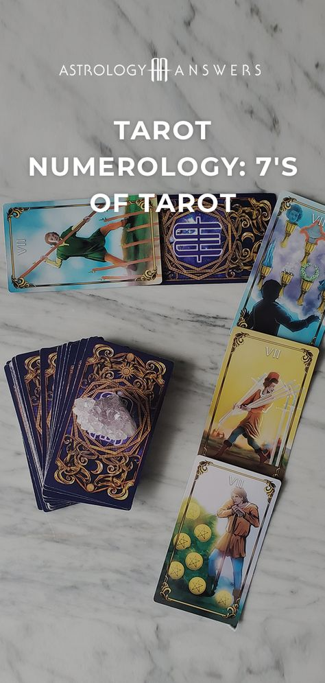 What does a 7 in your Tarot spread mean? Find out in today's numerology article! #tarot #numerology #tarotnumerology #sevensoftarot #tarotspreads #tarotcards #tarotcardmeanings #minorarcana