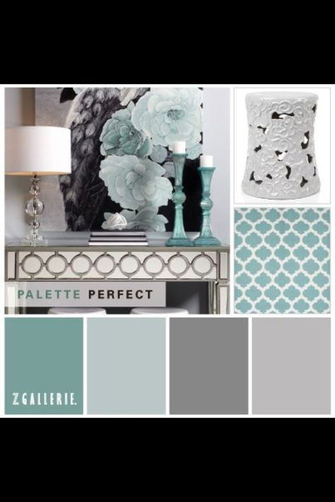 great palette - shades of grey & teal (most importantly, warm but no major beige :)