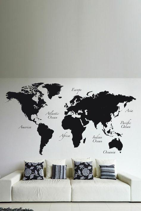 weltkarte wand wandmalerei wohnzimmer schwarz weiß - wohnzimmer schwarz weis