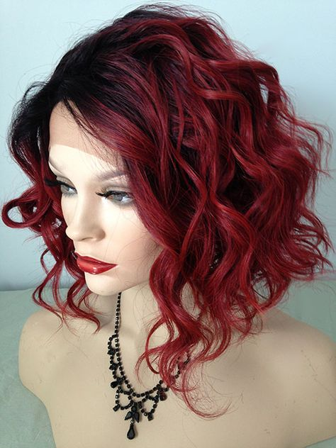Lace Front Wig,Dark Rooted Dark Brown, Red Velvet