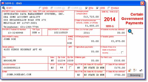 Account Abilitys 1099-G User Interface W-2 and 1099 Software - 1099 invoice