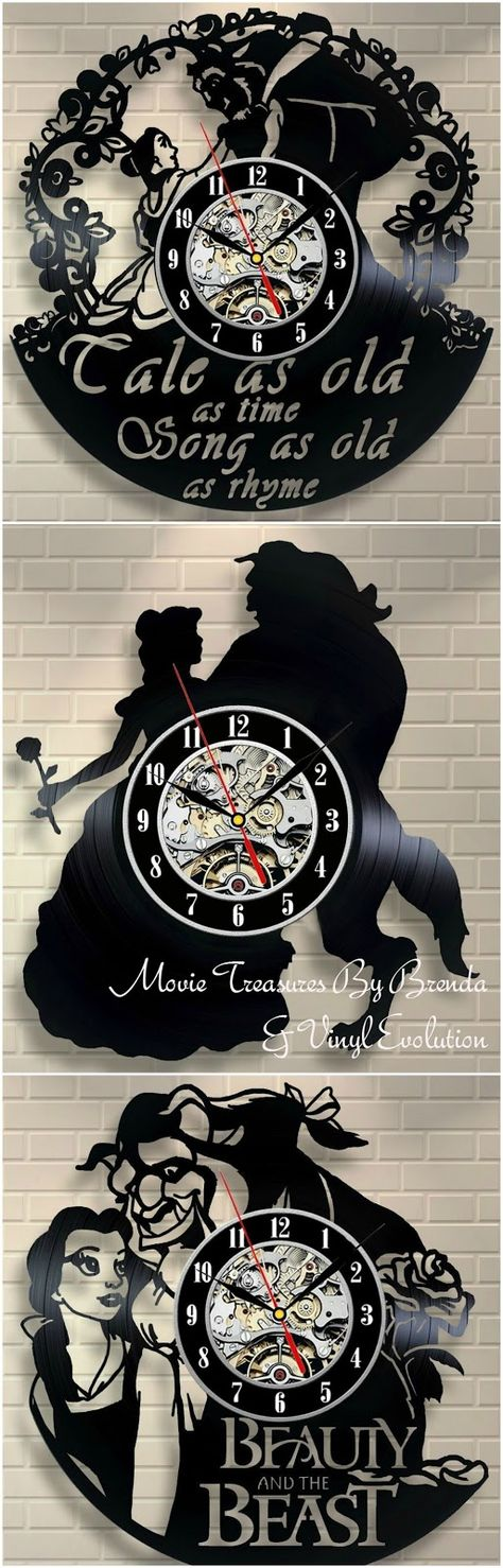 Beauty and the Beast vinyl wall clocked is crafted from an old vinyl record. LOVE the idea -- and you can choose from a wide variety of Disney and non-Disney movies.