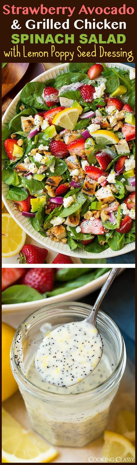 Strawberry Grilled Chicken Spinach Salad with Creamy Poppy Seed Dressing - Such a bright and refreshing summer salad! This fresh spinach salad is layered with sweet strawberries, tender chicken, crunchy walnuts and tangy feta and it's finished with a creamy poppy seed dressing. #strawberry #spinachsalad #grilledchicken #poppyseeddressing #salad