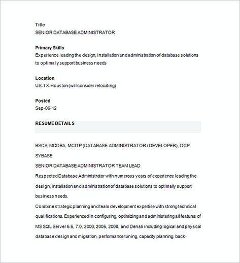 Senior Database Management Resume , Database Management Resume - database designer resume