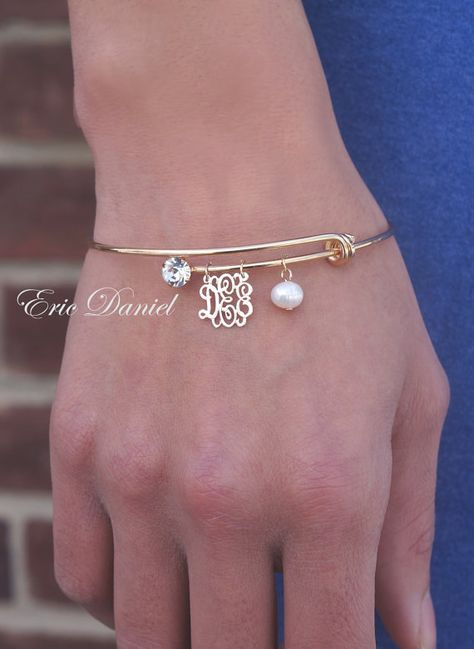 Personalized Monogram Bangle, Choose Your Initials, Perosanlized Bracelet, Gold Bangle, Initials Bangle, Yellow Gold