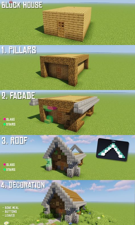 r/Minecraft – How to transform every block house in 4 easy steps! - Minecraft World 2020 Minecraft House Plans, Minecraft World, Cute Minecraft Houses, Minecraft House Tutorials, Minecraft Houses Survival, Minecraft Room, Minecraft Houses Blueprints, Minecraft House Designs, Cool Minecraft