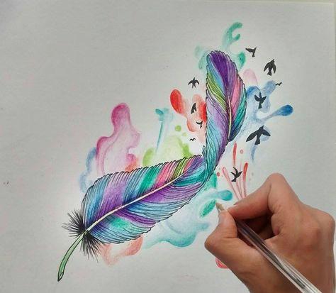 Diseño Pluma Acuarela / Aquarelle Quill Tattoo Design - Nosfe Ink Tattoo