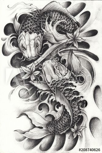 Fancy Carp Fish Tattoo Hand Pencil Drawing On Paper Koi Tattoo Design Koi Dragon Tattoo Arm Tattoos Koi Fish