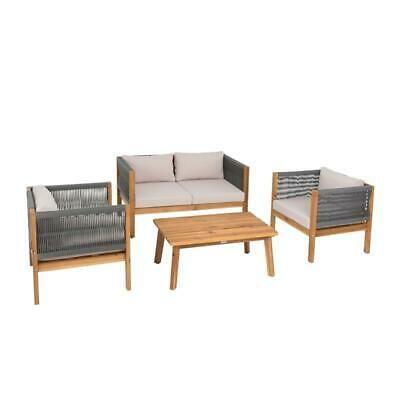 Sitzgruppe Gartenmobel Akazie Lounge Set Sitzgarnitur Holz Massiv Garten Seil Ebay Sitzgruppe Gartenmobel Aussenmobel