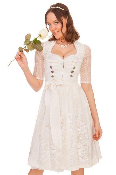 Midi Hochzeitsdirndl Gilitta in Weiß von Marjo Trachten