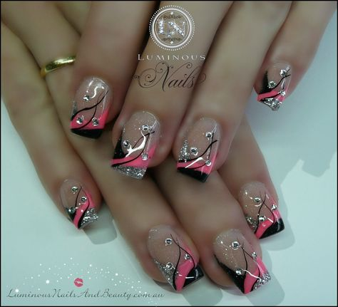 Hot Pink and Black Nails | pink black silver nails with bling sculptured acrylic with neon pink ...