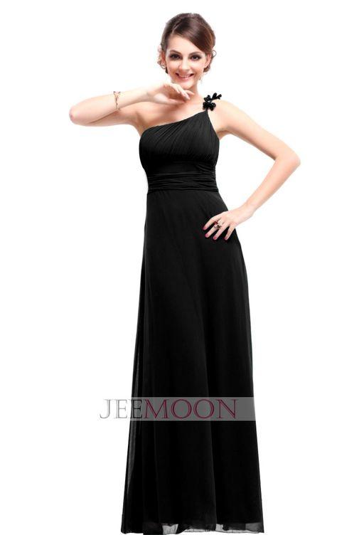 A-line One Shoulder Ankle-length Black Chiffon Bridesmaid Dress