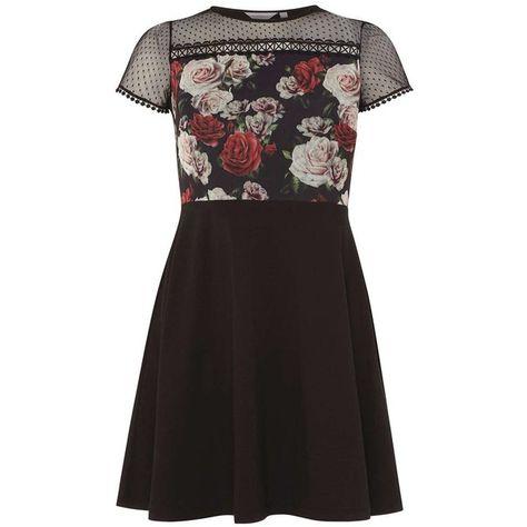 37c08300d4 Petite Black Floral Mesh Skater Dress ( 34) ❤ liked on Polyvore featuring  dresses