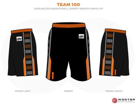 5b3c4195a0 TEAM 100 Black Orange Brown and White Basketball Uniforms, Jersey and Shorts