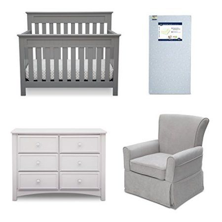 Delta Children Chalet 4 Piece Mix Match Nursery Furniture Set Convertible Crib Dresser Glid Grey Furniture Sets Nursery Furniture Sets Baby Furniture Sets