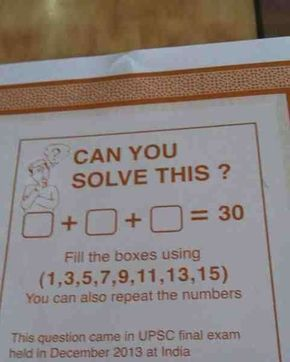Here S A Problem That S Part Of A Math Exam In India You Need To Select Three Numbers No More No Image Reddit V Brain Teasers Maths Exam Math Riddles