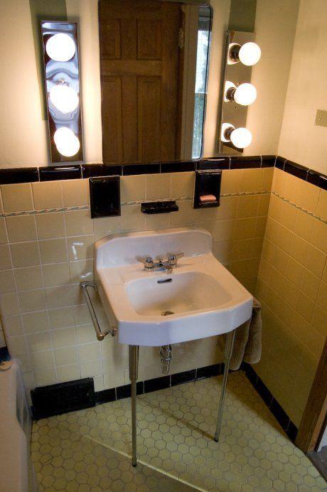 1920s Yellow Bathroom After Retro Renovation And Our Home Was Built In Th Yellow Bathroom Walls Rustic Bathroom Vanity Diy Vintage Bathroom Sinks